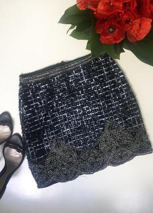 Юбка расшитая бисером / с бусинами / в пайетках / вечерняя юбка / с узором
