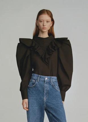 Zara хлопковая блузка объемные рукава оборки.