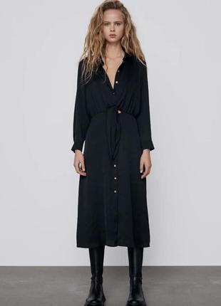Платье миди zara черное рубашка длинным рукавом воротником длинное