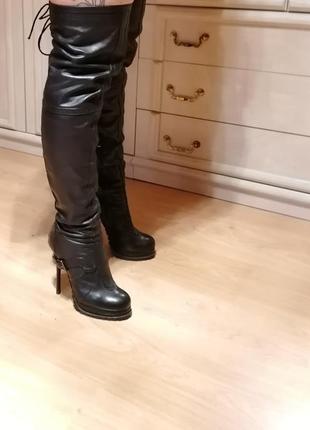 Шикарные кожаные сапоги со шнуровкой на высоком каблуке 38-й размер, (возможен торг)