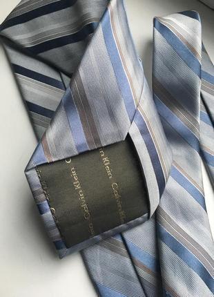 Светло-голубой серый шелковый галстук в полоску calvin klein шелк полосатый классический