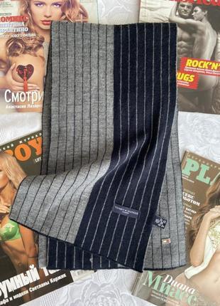 Чоловічий шарф в полоску tommy hilfiger шерсть/акріл, ідеал🔥4 фото