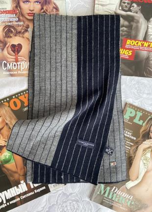 Чоловічий шарф в полоску tommy hilfiger шерсть/акріл, ідеал🔥3 фото