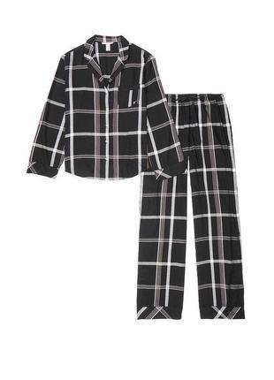 Чёрная пижама в клетку victoria's secret рубашка штаны брюки фланелевая пижамка оригинал