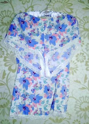 Яркая шикарная сатиновая секси пижамка комплект для сна с шортиками marks & spencer