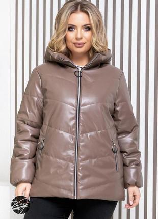 Куртка с капюшоном из искусственной кожи
