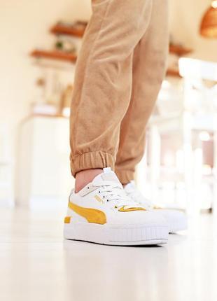 ❤ женские белые кожаные кроссовки puma cali sport heritage white/teal ❤