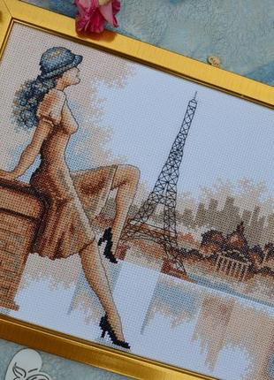 Вишита картина париж, вышитая картина ручной работы эйфелева башня, вишивка hand made