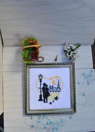 Вишита картина paris, вышитая картина ручной работы happy valentine's day, hand made
