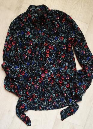 Легкая блуза в маки с завязкой на шее papaya