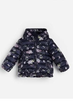 Reserved новая стеганая курточка с цветочным принтом для девочек р. 68-104