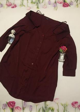 Крутое платье рубашка с открытыми плечами туника оверсайз
