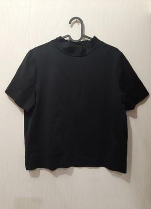 Базовая черная футболка люкс качество, воротник стойка от cos