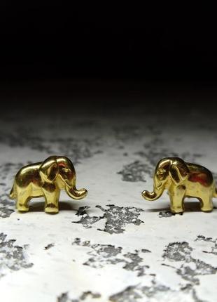 """Золотые серьги пусеты  """" слоны """" 750 проба"""