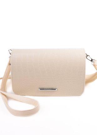 705920481702 Бежевая маленькая сумочка через плечо в крокодиловом исполнении ...