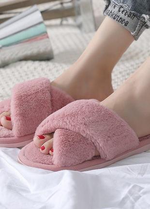 Женские меховые тапочки для дома