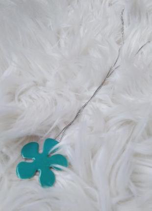 Цепочка с кулоном цветком бирюзового цвета 22см