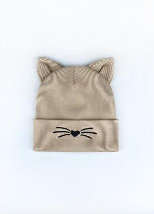 Шапка двойная в рубчик с ушками котика для девочек топ осень-весна 🍂🔝