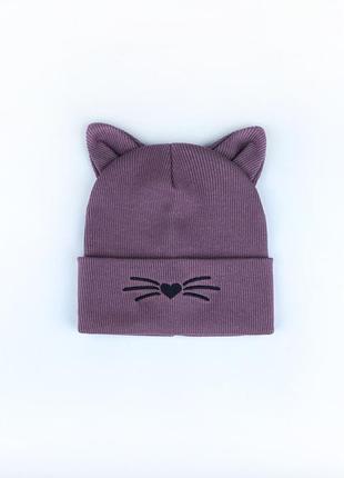 Шапка в рубчик с ушками котика и вышивкой для девочек топ осень-весна 🍂🔝