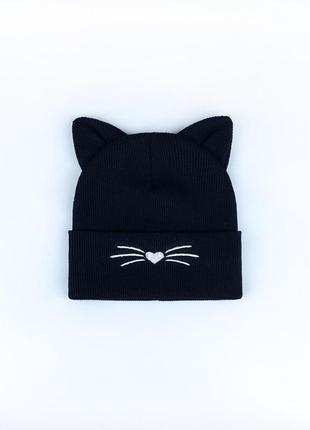 Шапка двойная в рубчик с ушками котика для девочек топ осень-весна🍂🔝