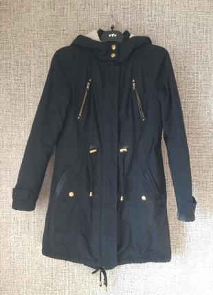 Чёрная парка куртка весна осень демисезон atmosphere