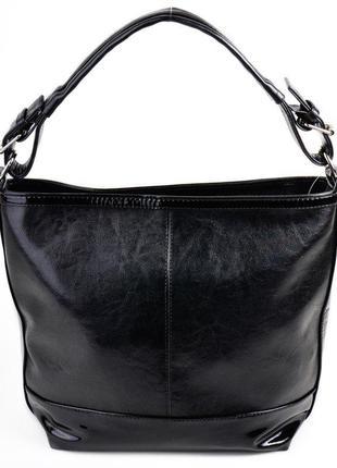 Женская сумка мешок на плечо черная глянцевая с ручкой