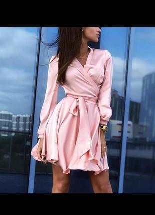 Платье на запах шелковое атласное сатиновое пудрово- розовое