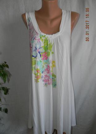 Беленькое летнее вискозное платье с принтом marks & spencer