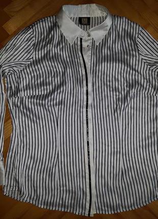 Шелковая полосатая блуза от madeleine! p.-44! батал