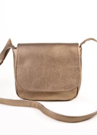 Золотистая женская сумочка через плечо планшетного типа