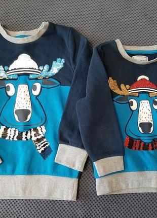 Пара новогодних свитеров с блестками перевертышами 128 и 110 рост