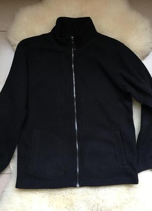 Флисовый чёрный батник кофта с карманами,на молнии,152-158