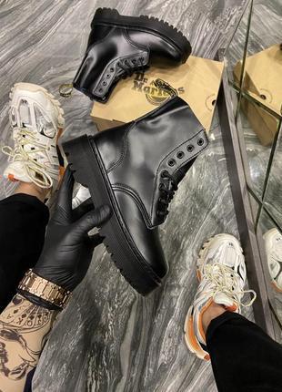 Чёрные женские кожаные сапоги ботинки (dr martens jadone mono black (термо))