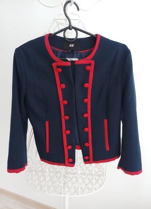 Пиджак h&m синий с красным