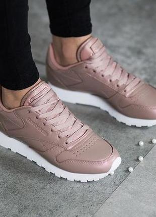 Reebok classics leather pearlized trainers rose оригинал