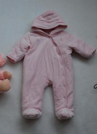 Шикарный детский велюровый демисезонный комбинезон до 3 мес
