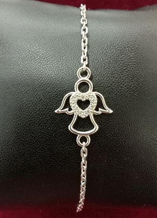 Женский браслет ангел с сердцем на цепочке якорь с фианитами в сердце
