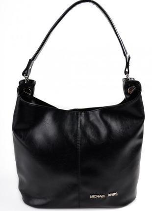 Черная сумка шоппер на плечо с одной ручкой