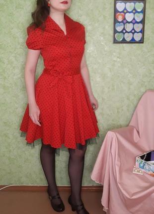 ❣️винтажное платье в горошек ❣️