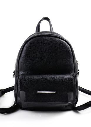 Маленький черный рюкзак-сумочка через плечо женская молодежная с фронтальным карманчиком