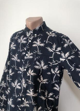 Гавайская рубашка 48 длинный рукав хлопок черный беж
