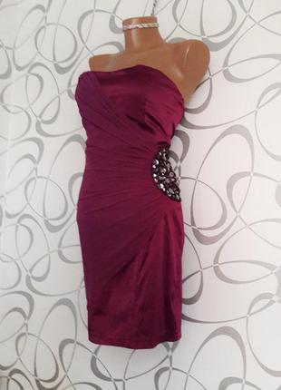 Красивое нарядное лиловое платье бюстье