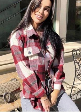 Теплая рубашка куртка в клетку shein. сорочка в стилі zara