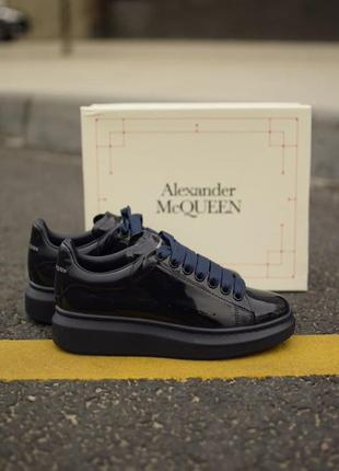 Alexander mcqueen 😍 кожаные женские черные кроссовки 👟36-40 р