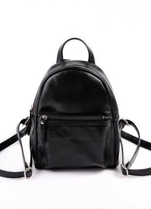 Черный маленький глянцевый молодежный рюкзак