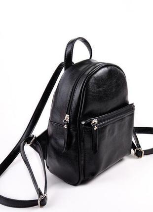 Маленький черный рюкзак городской молодежный текстура масло