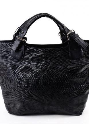 Женская вместительная сумка шоппер черная трапеция в коже питона