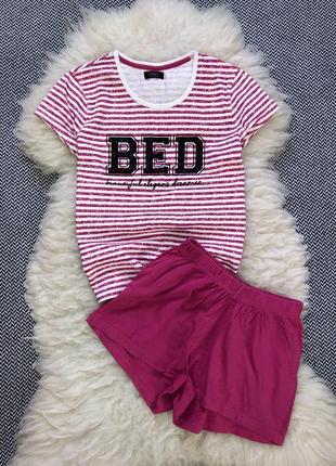 Пижама летняя шорты футболка в полоску хлопковая дома