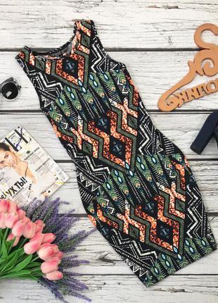 Красивое платье-футляр с ярким принтом-геометрией  dr30143  topshop