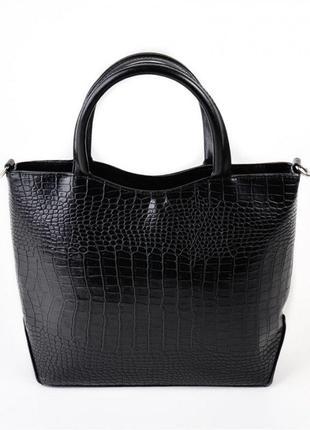 Черная фигурная деловая женская сумка в крокодиле